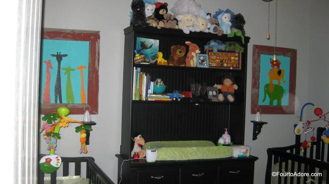 The top of the boys' hutch is filled with stuffed animals they received as gifts in the NICU and for Christmas.  On the shelves below are family keepsakes and vintage toys from my grandmother's house.