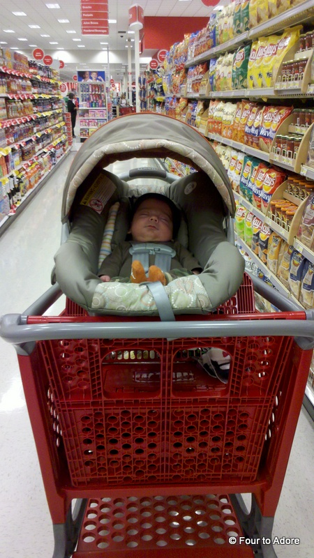 Harper was down for the count,  but so cute at Target.