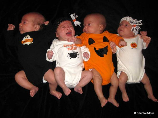 The babies sported Halloween bodysuits for the day courtesy of Marin's Boutique. Rylin was not too happy with her get up.