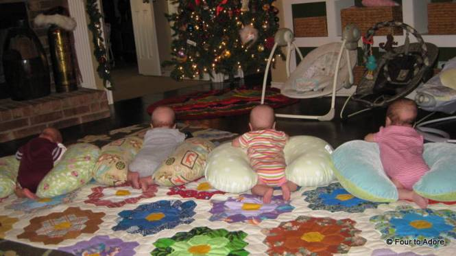 Everybody's having a bit of supported tummy time facing the tree.  Poor Mason is still working on raising his head, which is why he gets OT.