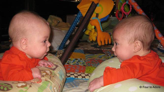 The babies are starting to notice each other.  Here Sydney and Rylin are making faces and cooing at each other.
