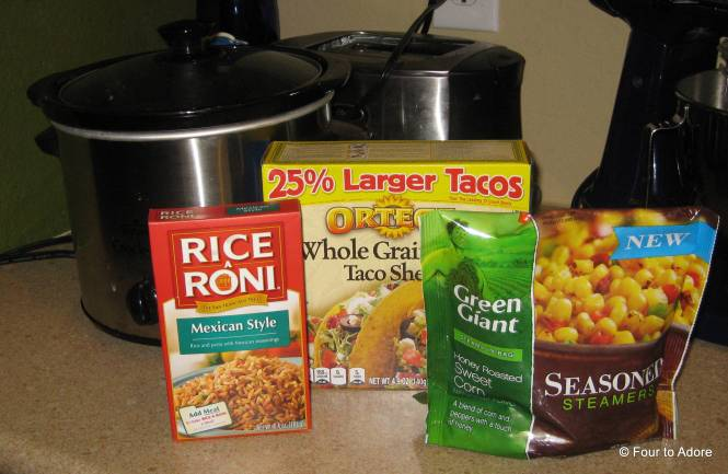 We needed some side dishes so I used Rice a Roni and steam in the bag roasted corn.  Voila!