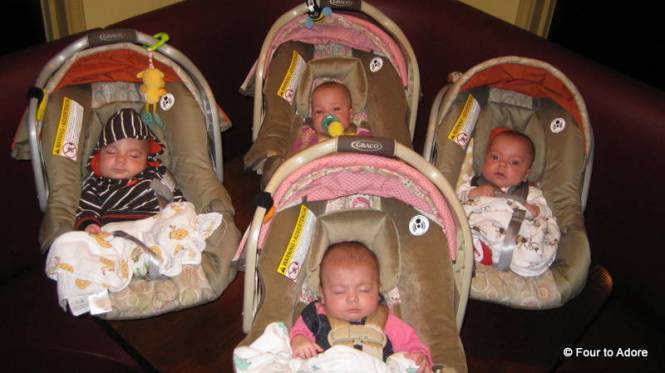 Everyone is ready to head home.  Here is what it looks like to have quads sitting on a restaurant table all together.