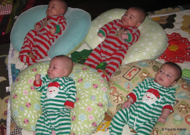 Here's everyone lounging in Boppy pillows.