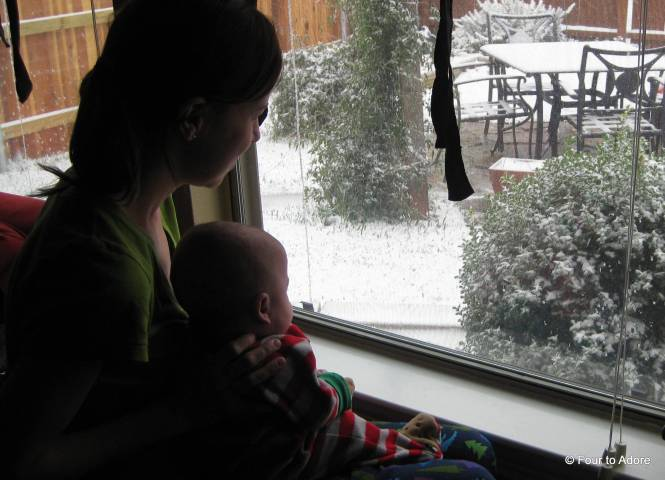 Mason and I enjoying our White Christmas from the inside.