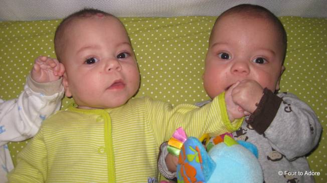 Mason always makes good use of his two hands.  He especially loves to grab a sibling's arm or hand.