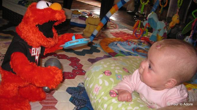Sydney always enjoys Elmo's appearances more than anyone else.