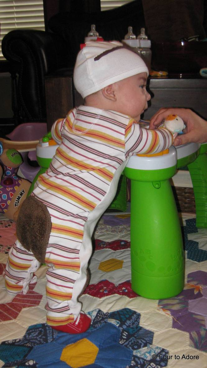 Harper thought this table was a nifty way to stand.