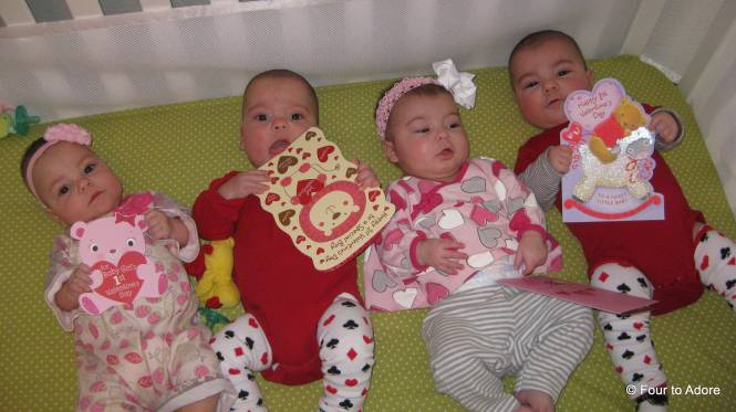 The babies received their first Valentine cards and enjoyed looking (or um, eating) them.
