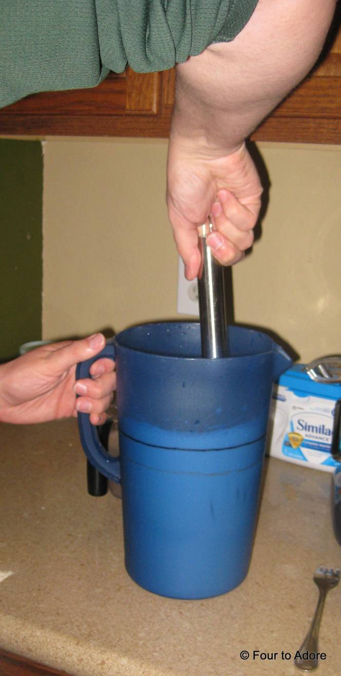 Mix the batch using a whisk. It dissolves pretty quickly so about 30 strokes.  This concludes the entire batch of formula.