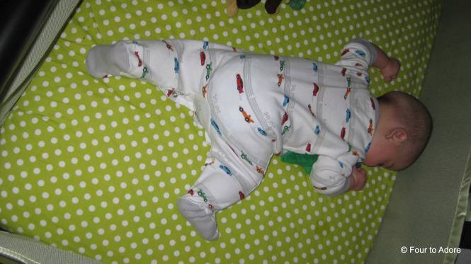 Since Mason can roll over, he's a tummy sleeper.