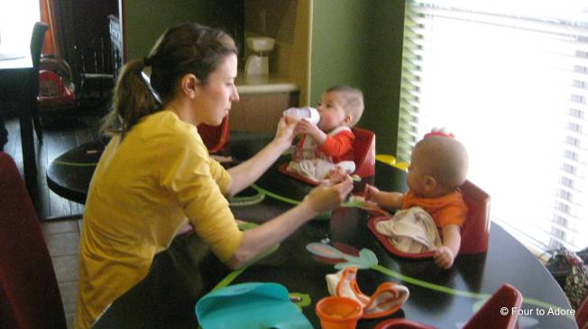 Dad snapped this picture of me spoon feeding and bottle feeding at the same time.  I had no idea I was even doing it!
