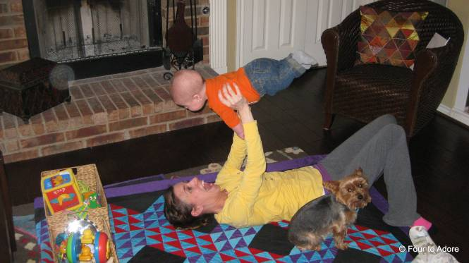 During tummy time, the babies help me work out my biceps.  I start with Harper and do about 10 reps, then switch to a lighter baby for another 10-15.  They also work their abs as they flex to keep their limbs out straight.