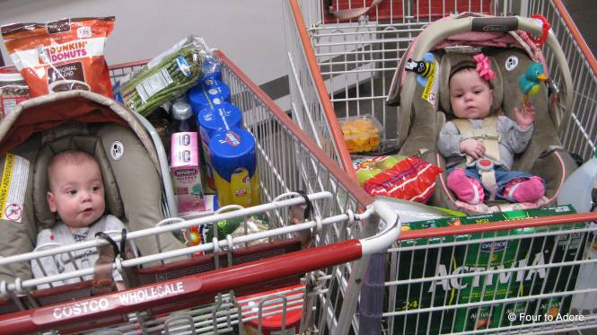 "Here's the shopping aftermath!  As we left, the woman at customer service inquired about the boy/ girl ratio.  When we told her it was 2 boys, 2 girls she replied, ""That's perfect!  I'm jealous"".  I thought that was a cute, candid remark."