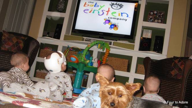 He even enjoyed a Baby Einstein DVD with his sibs.