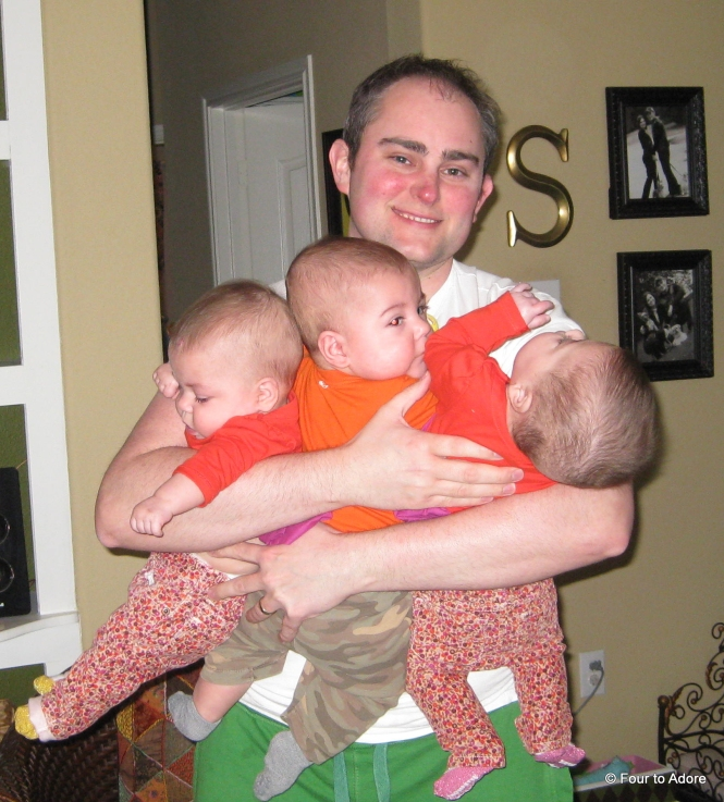 """After changing diapers, George strolled into the living room like this proclaiming, """"I've got three of them!"""""""
