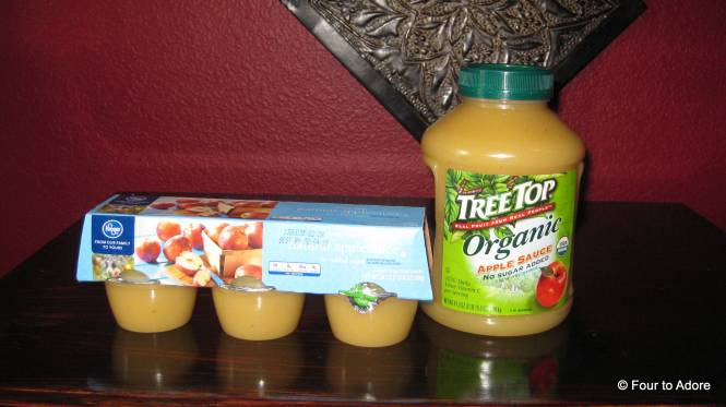 Applesauce is an easy option for baby food. It mixes well with most any vegetable to add sweetness without artificial sugar. Look for
