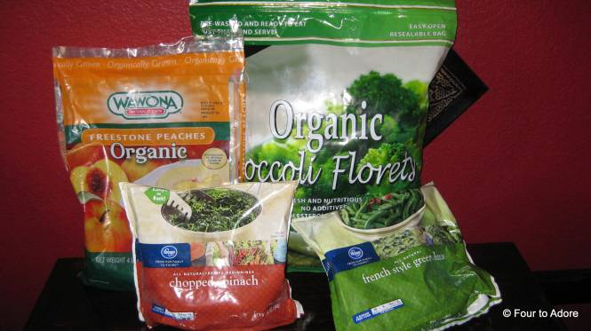 Steam frozen fruits and vegetables to puree for homemade baby food.