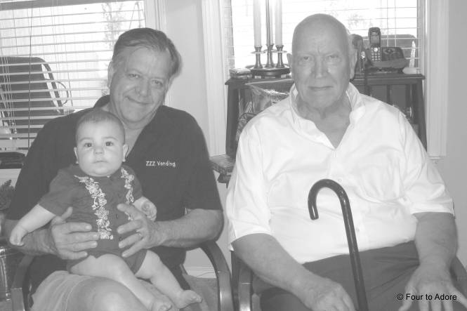 If you ever wonder where Harper got his good looks, I think it's from these two: Grandpa and GG Paw.