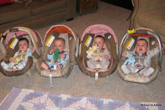 I always marvel at the four car seats loaded after a day trip.  I often still wonder if they are all ours!