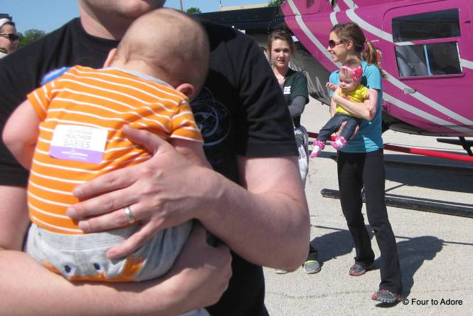 As we crossed the finish line, each baby received a sticker like this one.  We slapped them on the backs of their onsies since they'd eat them otherwise.