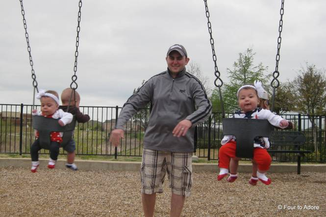 This is how quadruplets roll at the playground!