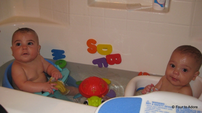 We used bath seats like this when they could sit up, but not with the buoyancy of water.