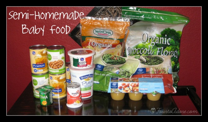 DIY baby food using frozen produce, BPA free canned goods, diary, and pantry items.