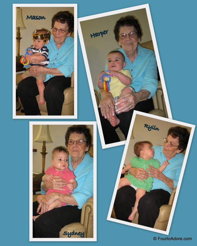 Unfortunately, our visit to Grandma's was brief.  However, we made sure Grandma got a chance to hold each baby.  When one got fussy, we swapped them out.