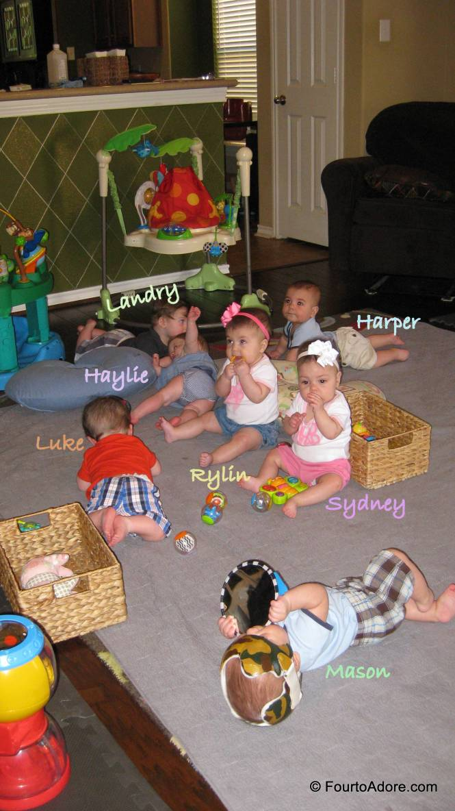 Here's what it looks like when you put seven babies together for blanket time.  I guess this is what septuplets look like!