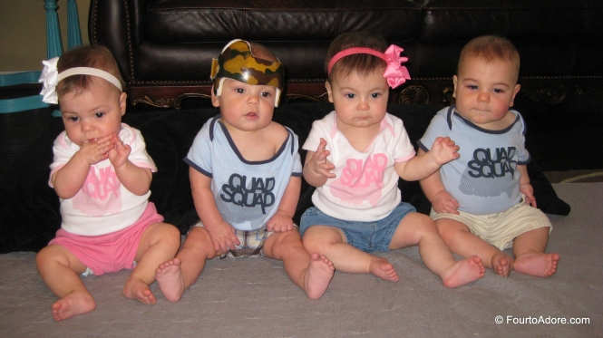 "I thought the ""Quad Squad"" onsies were appropriate for our Quatriplet play date.  You know, just in case you can't figure out who is a quad and who is a triplet."