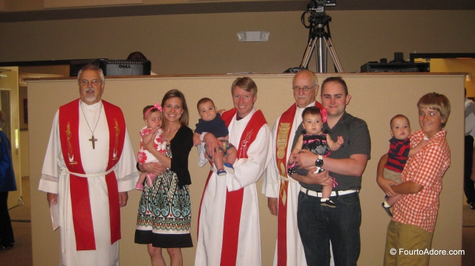 The babies with the clergy of St. John Lutheran.
