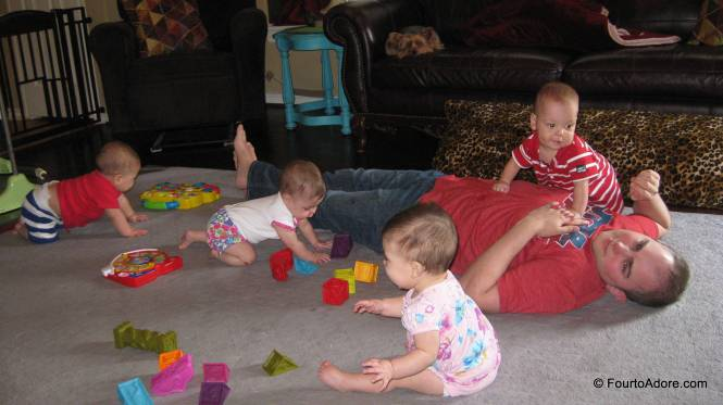 And, I captured another after my return.  Loved this image of babies crawling over and around their Daddy.