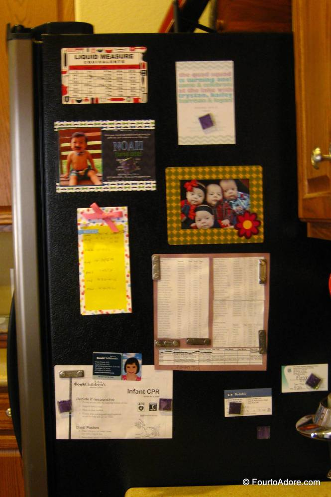 If you look carefully, you'll notice the two birthday invitations on our fridge right now.