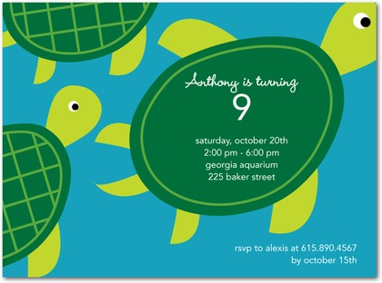 Birth Announcements Four to Adore – Turtle Birthday Invitations