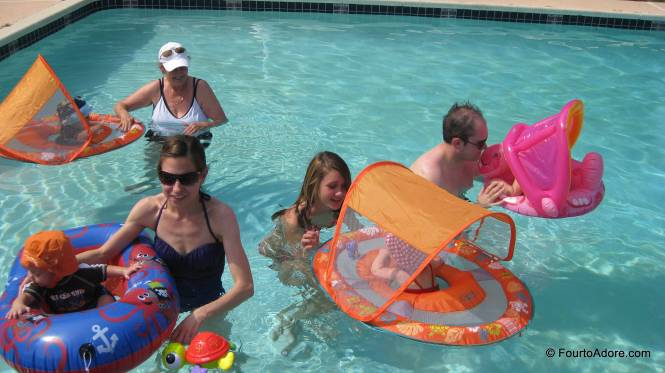 And this is what it looks like to have four babies in a pool together.
