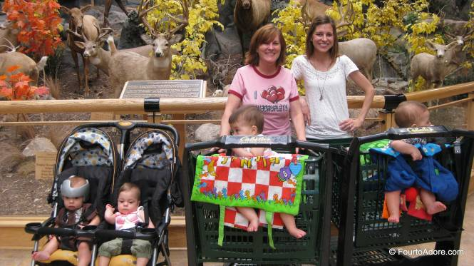 This is how we toted four babies around Cabela's!