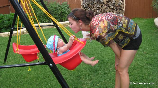 Swinging is even better when Aunt CiCi pushes.