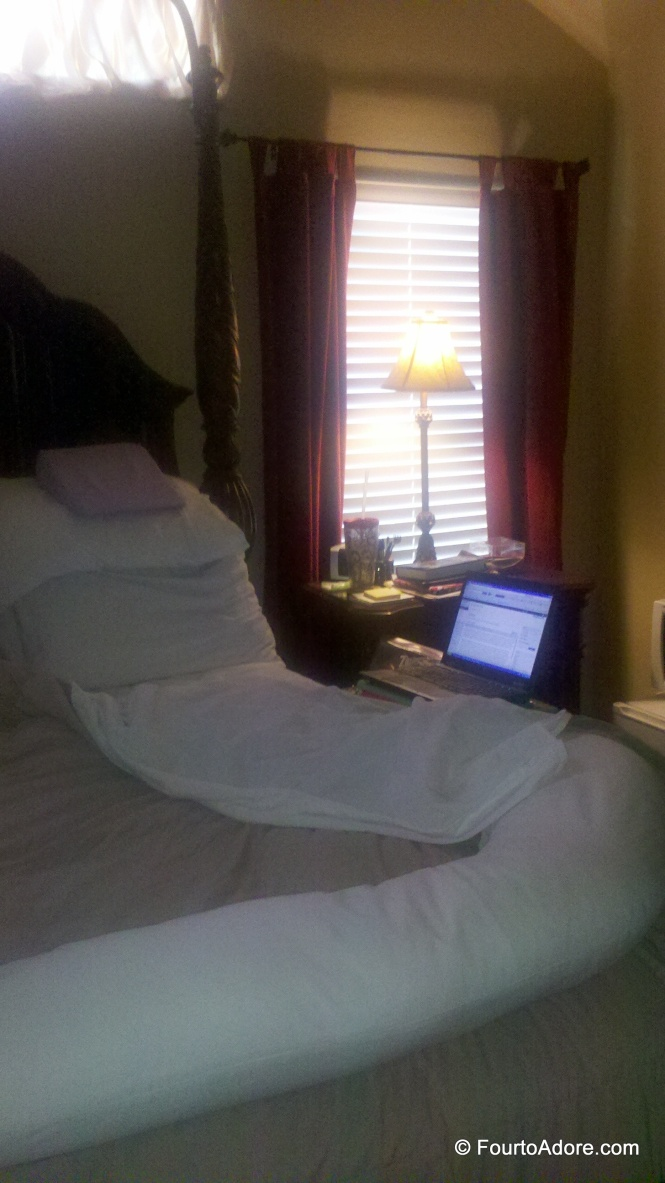 This was my bed rest set up complete with Snoogle and laptop.  I later swapped the laptop for a secondhand ipad, which was much lighter and easier to manage.