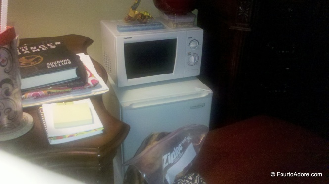 We kept the mini fridge and microwave from my office at my bed side.  George stocked it nightly so I could easily access snacks in the day.