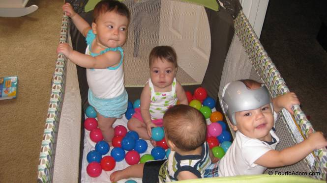 And then all four ended up in the ball pit together.