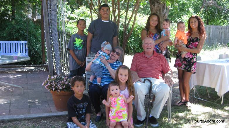 Ten of the eleven great grandchildren are in this photograph.  Can you spot BOTH sets of multiples?  Of course the quads are one set, but there are also twin boys in the mix!
