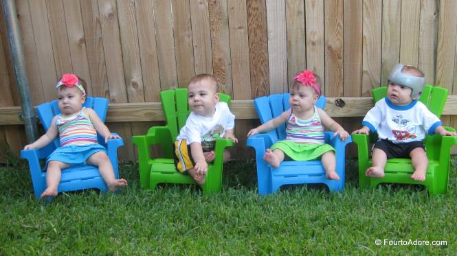 Rylin, Harper, Sydney, & Mason in their new chairs from Great Grandma McCaskill.