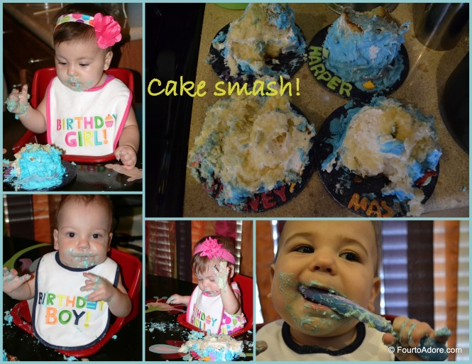 The babies weren't nearly as messy as I anticipated.  Perhaps I did too much practice with sensory play in the weeks prior?  Harper was a total tease leaning towards his cake and pulling away numerous times.  Judging by the obliterated cakes, who did the most damage?