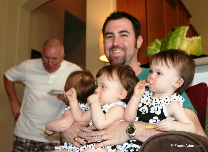 See, all Dads of multiples have mastered this hold!