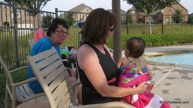 "Rylin blew Grandma kisses and said, ""Hi!"" from the pool."