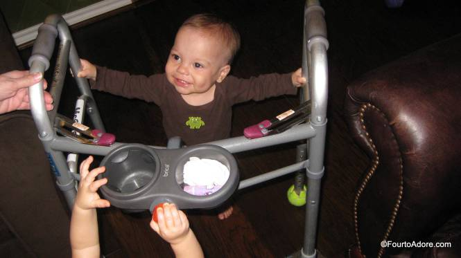 Being a novice at walking, Mason hijacked Grandma's walker.