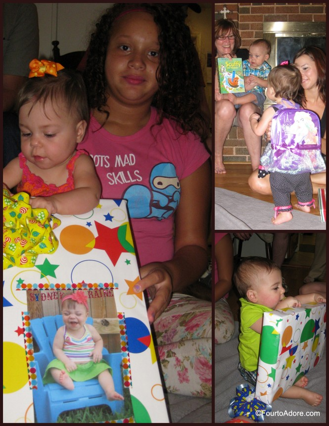 Grandma decorated each baby's gift with a picture from their first birthday party.