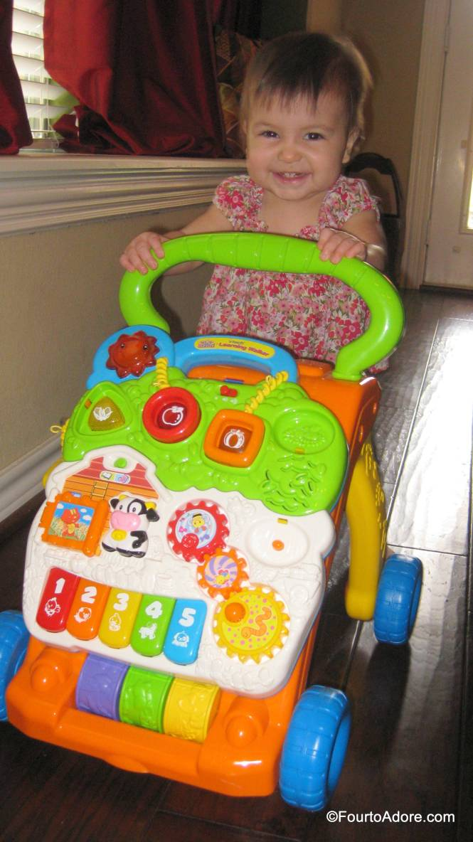 This is Rylin's favorite walker, but she also likes the shopping cart, activity table, and turtle.