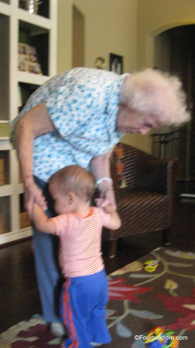 Even at 90, Granny helped Mason take steps.